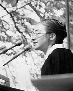 "Hillary Rodham giving the commencement speech at Wellesley College, 1969. ""Every protest, every dissent…is unabashedly an attempt to forge an identity in this particular age,"" sge said. ""But we also know that to be educated, the goal of it must be human liberation."""