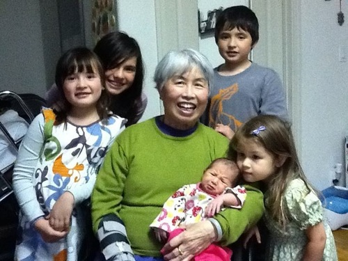 Burmese immigrant mother with her five kids