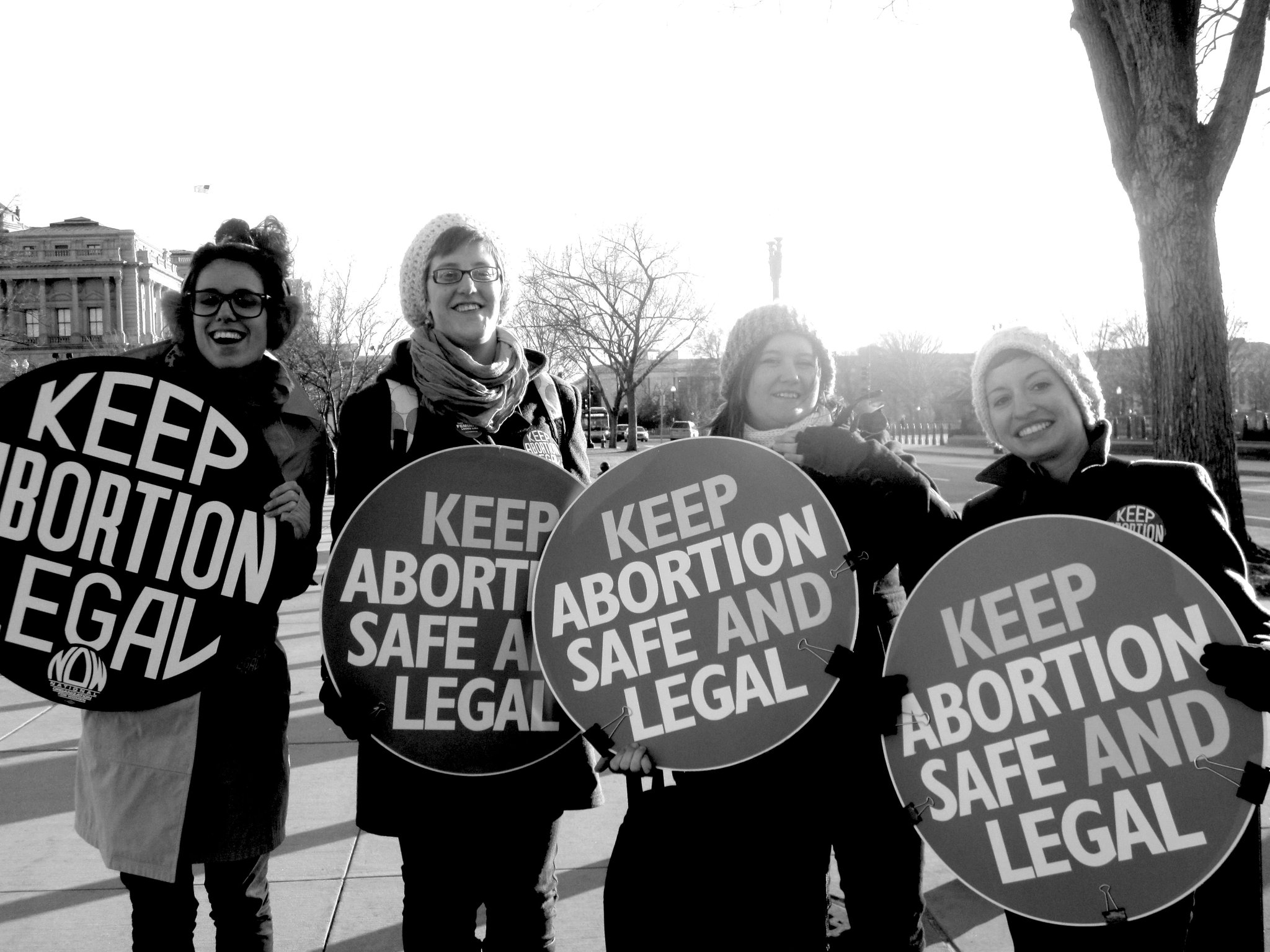 """keep abortion safe and legal"" signs"