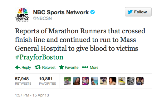 Reports of Marathon Runners that crossed the finish line and continued to run to Mass General Hospital to give blood to victims