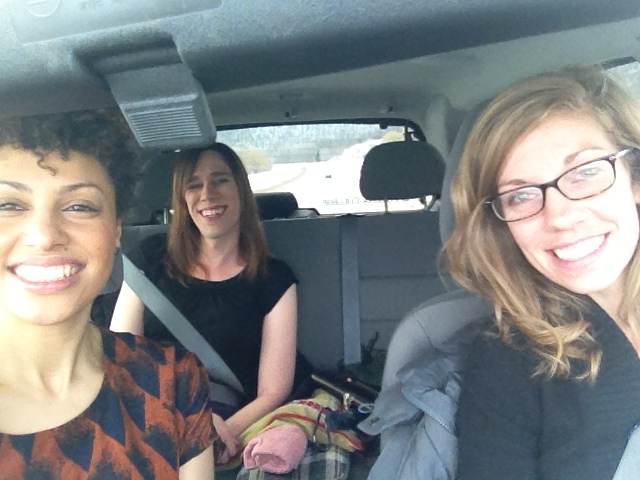 Lori Maya and Jos in the car visiting Winona State in Minnesota during this month's campus touring.