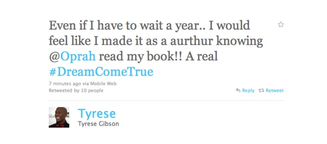 Tyrese tweet regarding Oprah