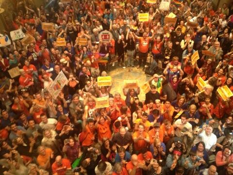 people celebrating marriage equality victory in MN