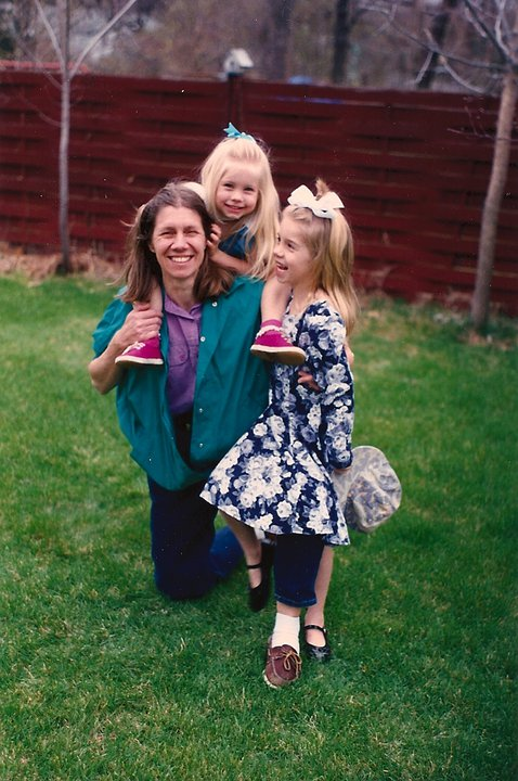 """Here's my mom with me and my little sister back when I wore huge bows in my hair."" -- Maya"