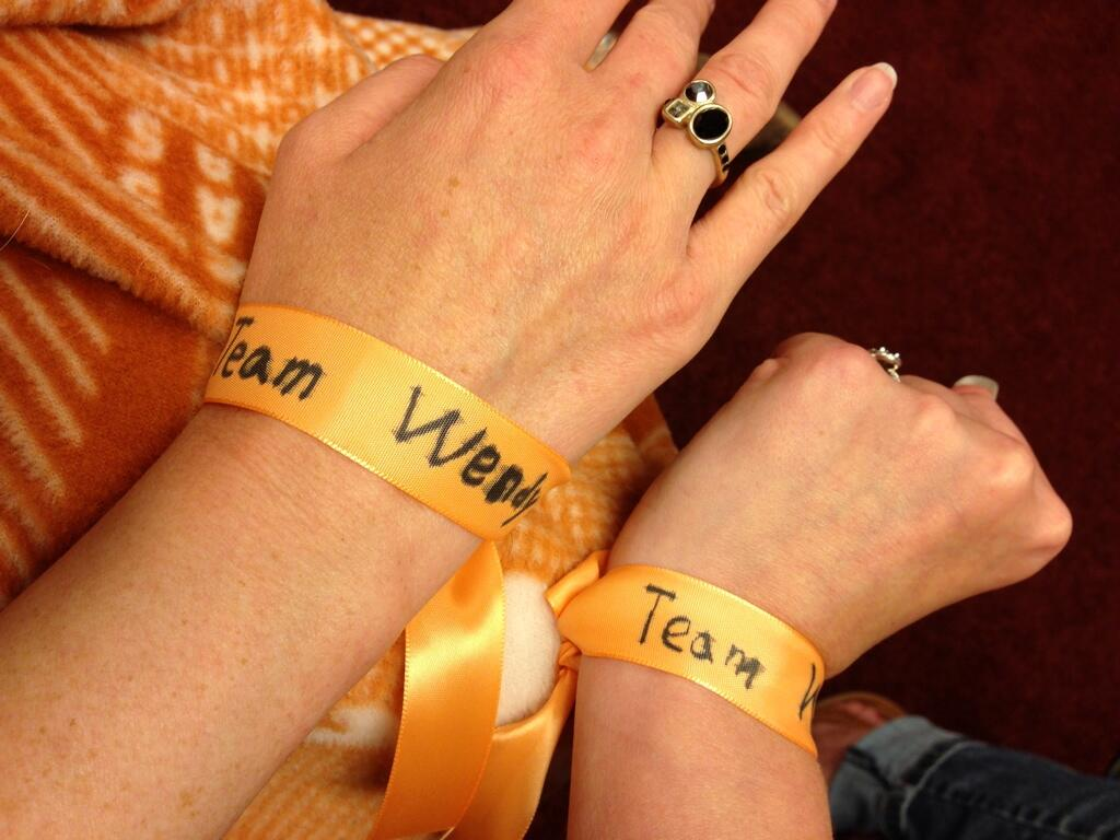 """team wendy"" bracelets made by a 6-year-old"