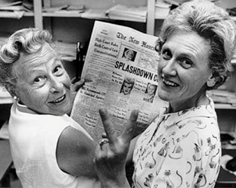 Estelle Griswold (left) and Cornelia Jahncke, president of the Planned Parenthood League of Connecticut (Right) celebrate their Supreme Court win.