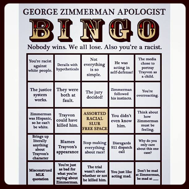 George Zimmerman apology bingo