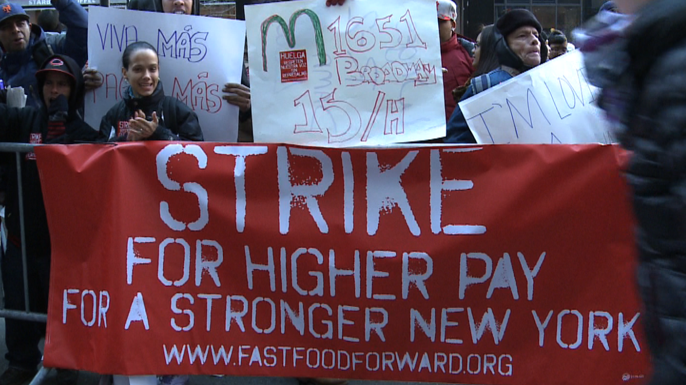 fast food worker strike The fight for $15 an hour involves child care, home healthcare, airport, gas  station, convenience store, and fast food workers striking for increased pay and  the.
