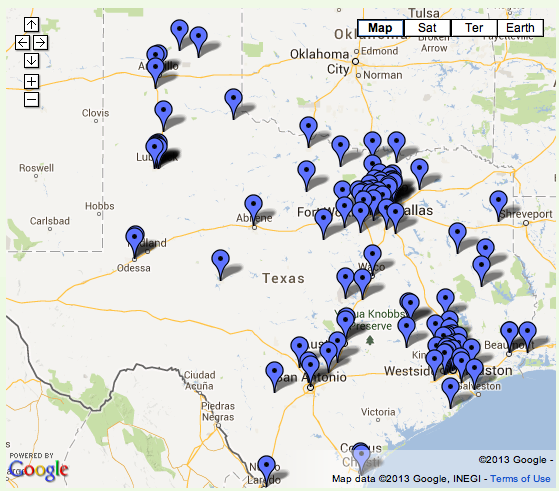 Map of CPCs in Texas