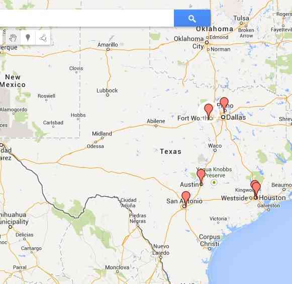 Map of 6 abortion clinics in Texas