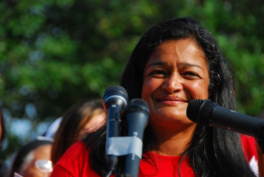 Pramila Jayapal at We Belong Together's civil disobedience on Thursday.