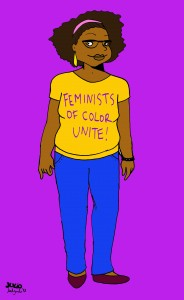 Susie Carmichael with a Feminists of color unite! shirt