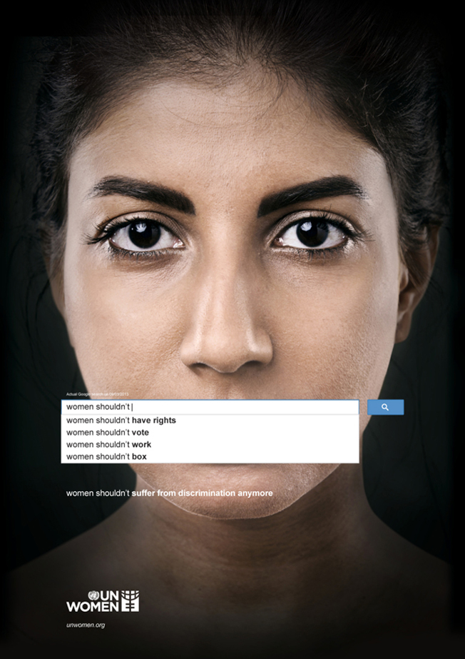 "Ad showing woman's face with google search results saying, ""women shouldn't...have rights...vote...work...box."""