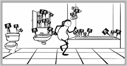 line drawing of woman in bathroom, poison flags coming out of all the products there
