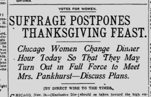 Suffrage Postpones Thanksgiving Feast