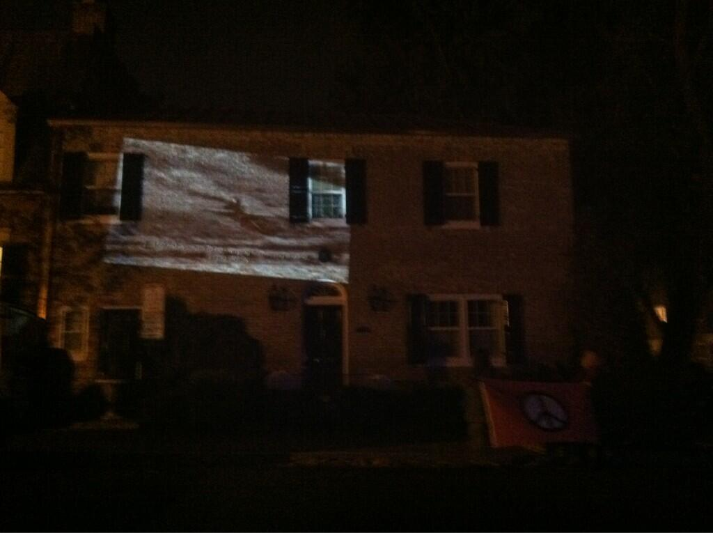Drone documentary projected on Jeh Johnson's house