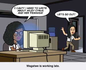 Wagatwe is working late writing about feminism while Patricia urges her to come out