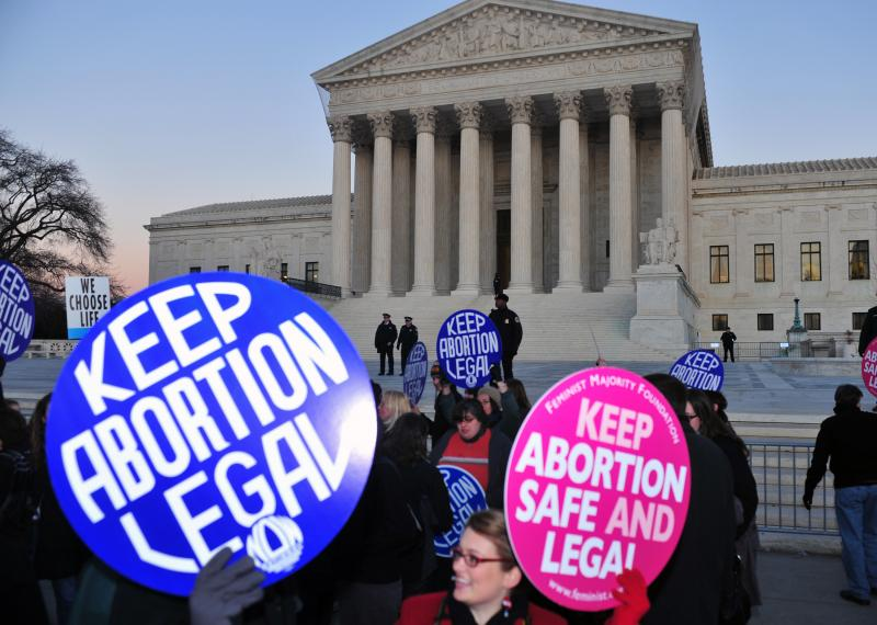 "protestors with ""keep abortion legal"" signs"