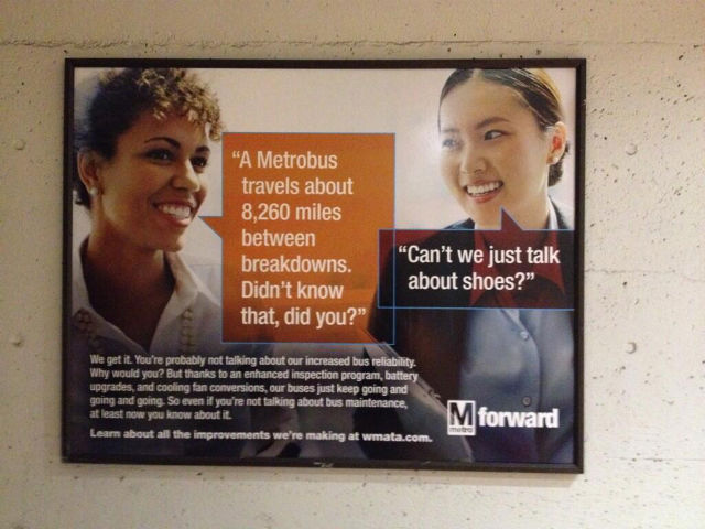 "DC Metro ad with woman asking, ""Can't we just talk about shoes"""