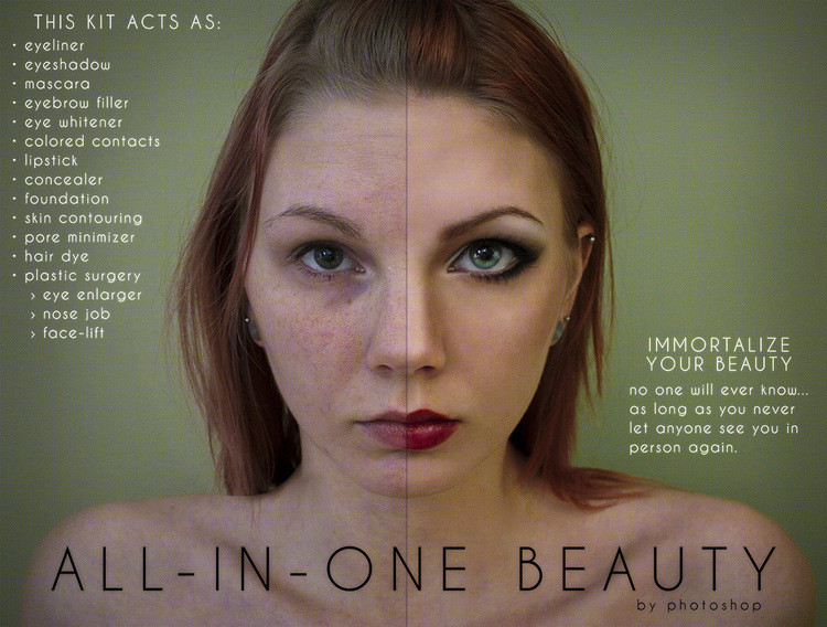 Mock ad for all-in-one beauty from Photoshop