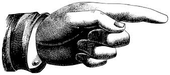 woodcut image of a pointing finger
