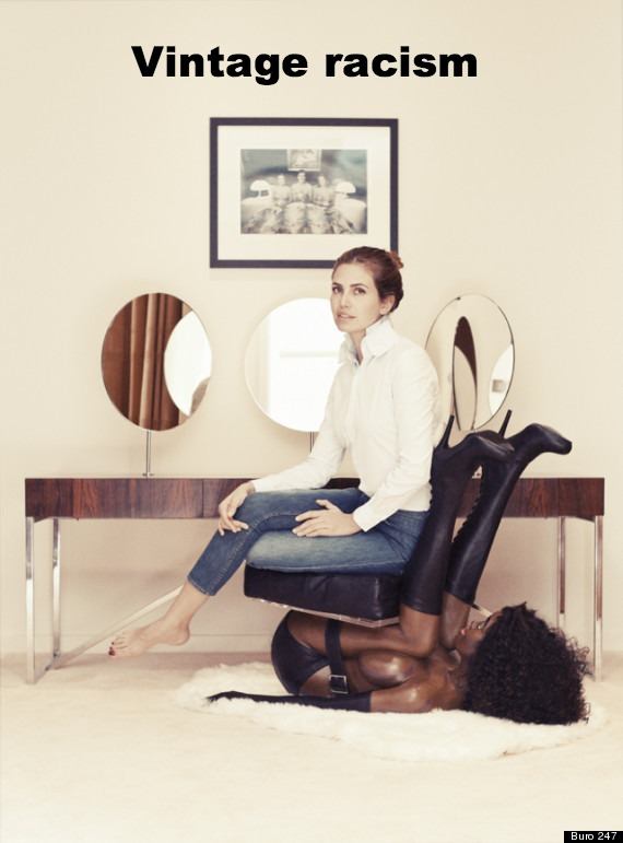 """Vintage racism"" text over image of white woman sitting on black woman ""chair"""
