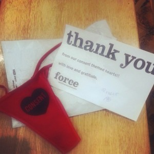 FORCE fundraiser panties and thank you note