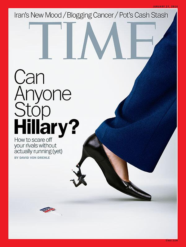 TIME magazine cover featuring a suit-clad person dangling from the heel of a pantsuit clad leg.