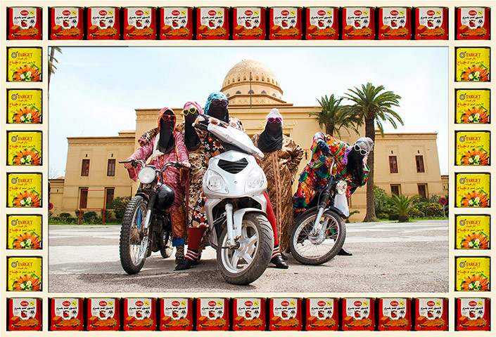 "Image of several women on motorbikes in Marrakesh from ""Kesh Angel"""