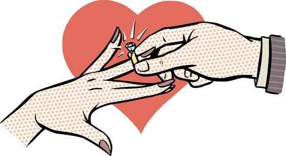 cartoon of a hand placing a wedding ring on another hand