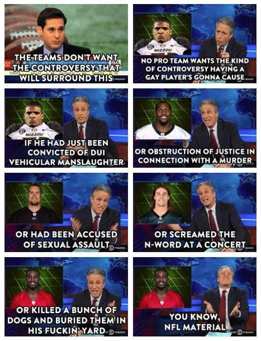 Jon Stewart on the NFL not wanting controversy of gay player
