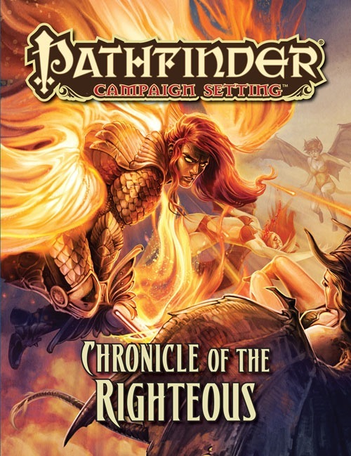 The cover of Chronicle of the Righteous, colourful fantasy art depicting a fiery winged angel slaying a demon, essentially.