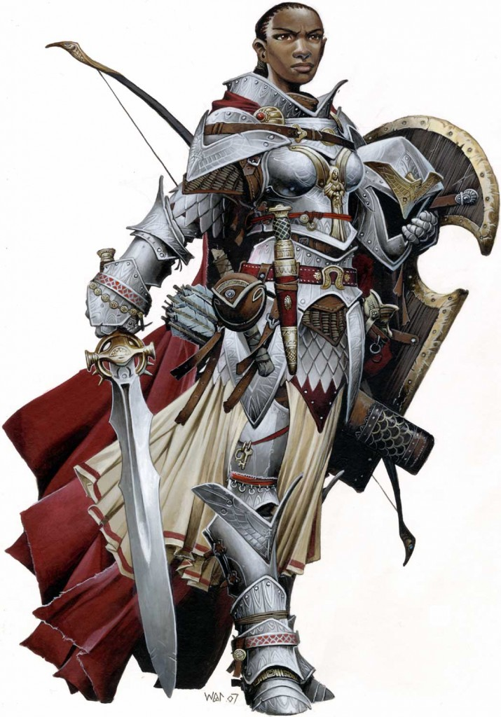 A tall, proud looking silver-armoured woman wielding a sword and shield, with a bow strapped to her back. She is dark skinned with a cornrow hairstyle and wears a determined look on her face.