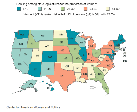 map showing ranking of states by proportion of women in state legislatures