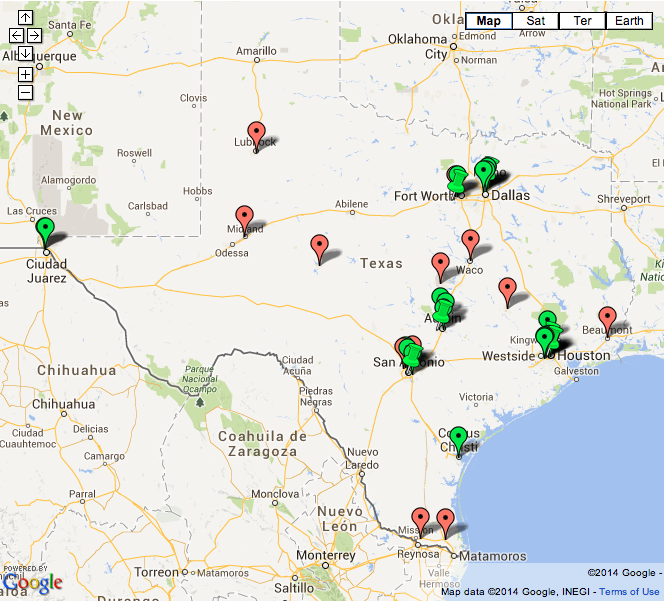map of Texas abortion clinics that are open and closed