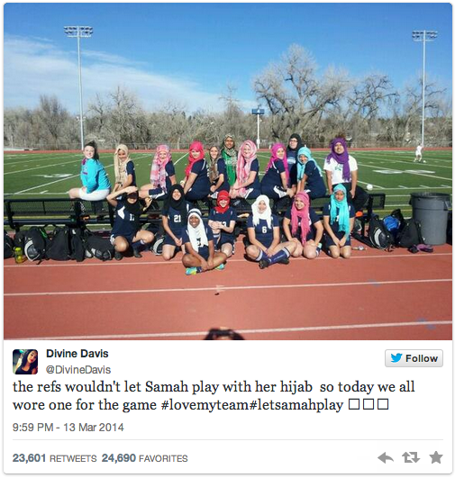 girls soccer team wearing hijabs