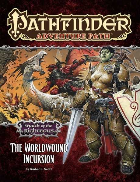 The cover of Amber E. Scott's The Worldwound Incursion, featuring Irabeth, a half-Orc paladin-- who has a wife.