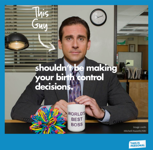 This guys shouldn't be making your birth control decisions with image of boss from The Office