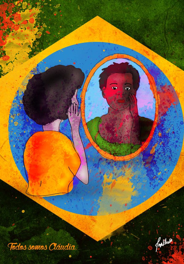 A woman looking a mirror at the center of the Brazilian flag, Claudia's face looking out from the mirror.