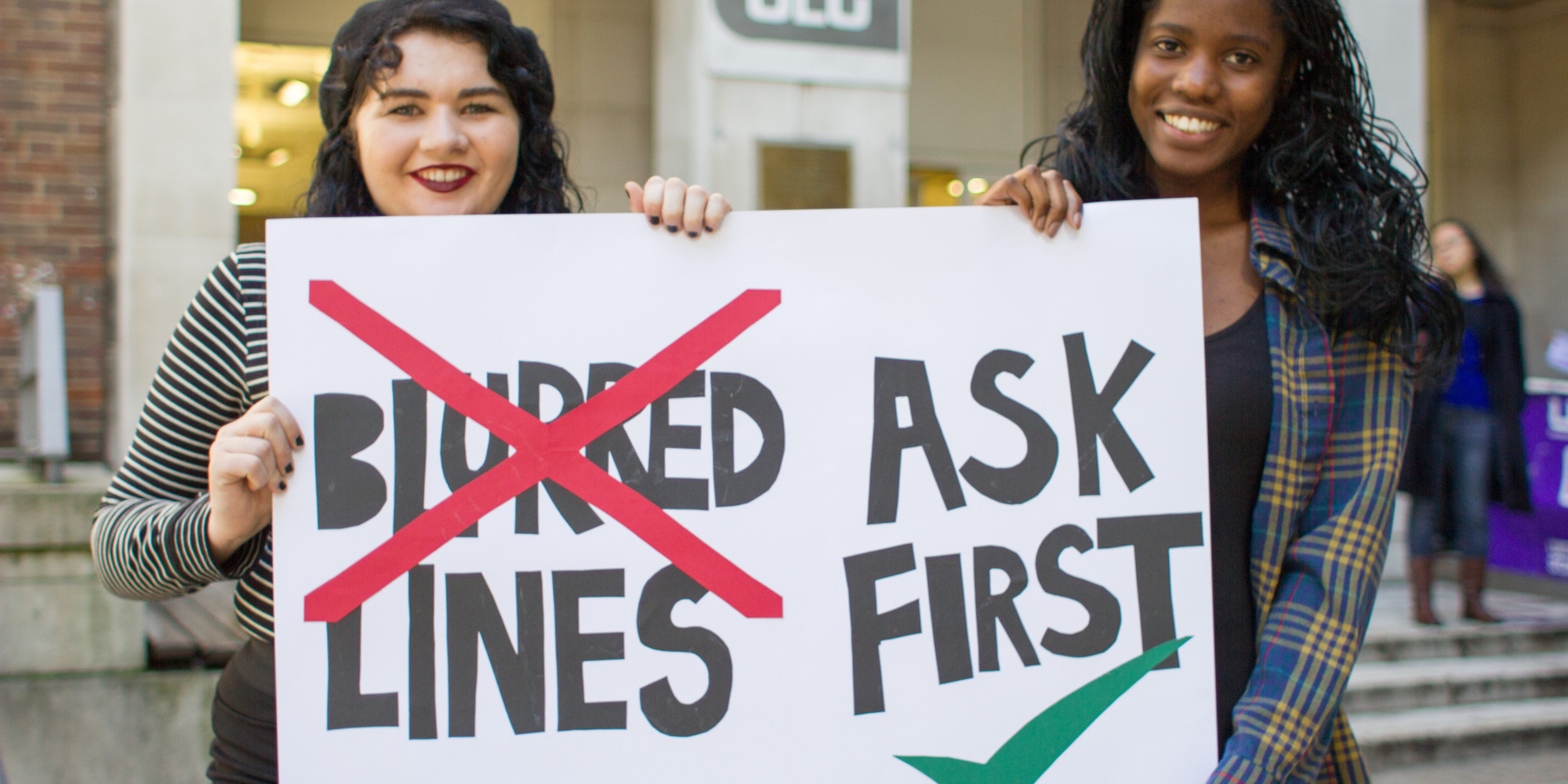 "sign with ""blurred lines"" crossed out and ""ask first"""