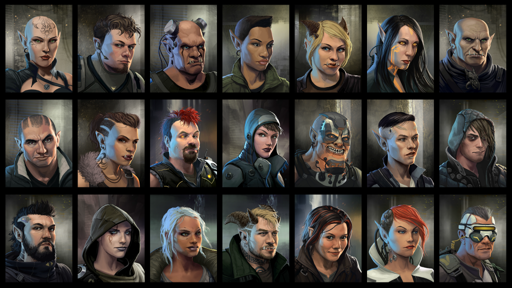 A sampling of available character portraits for your avatar in Shadowrun.(Harebrained Schemes LLC).