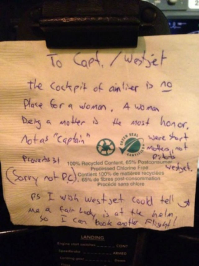 napkin with sexist note from passenger to female pilot