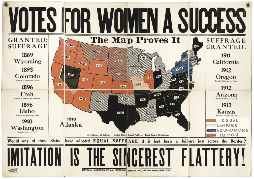 old map showing states that had women's suffrage in 1914