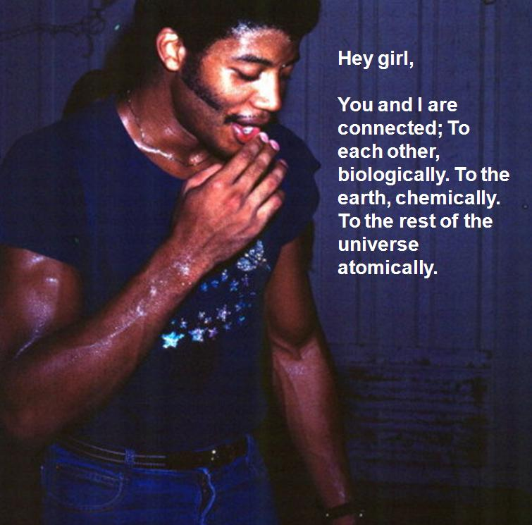 A young Neil de Grasse Tyson maybe in the late 1970s, sweaty maybe from dancing, with large muscles and looking preeetty good.