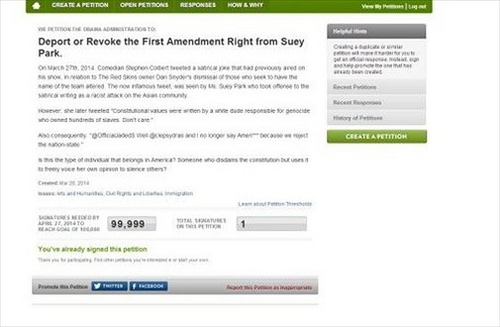 An actual petition started by one of Suey Park's many antagonists. Image sourced by Arturo Garcia at Racialicious.