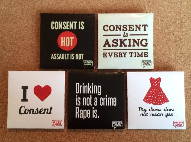 consent themed condoms