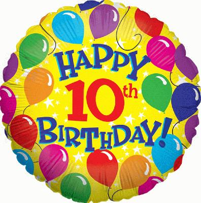 happy 10th birthday balloons