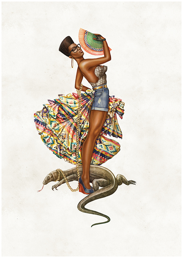 African pin up with iguana