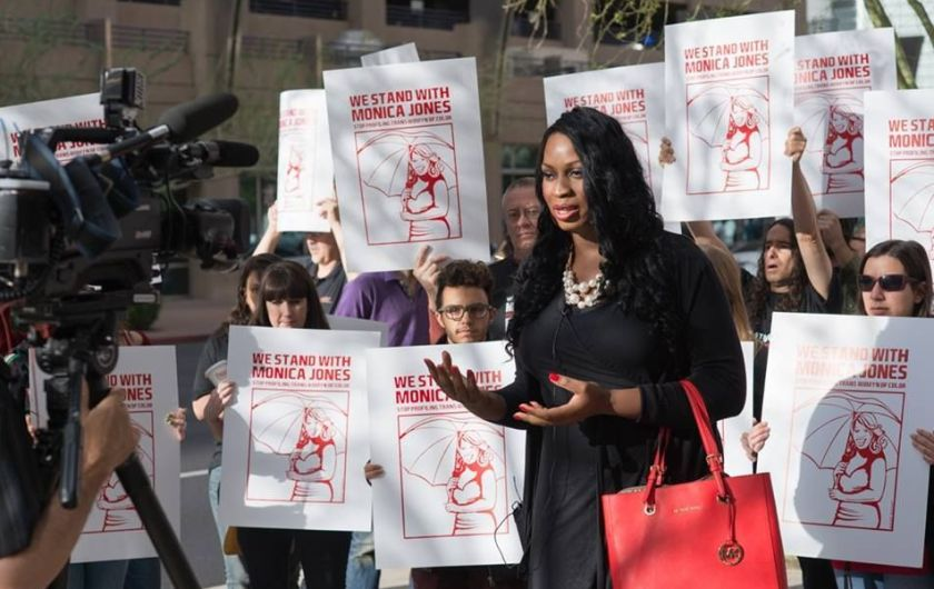 "Monica Jones, who was arrested for ""walking while trans and black,"" speaks out for sex workers. Image Credit: Facebook/Support Monica Jones"