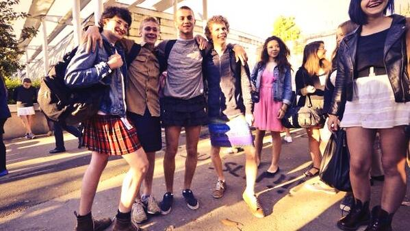 French school boys in skirts